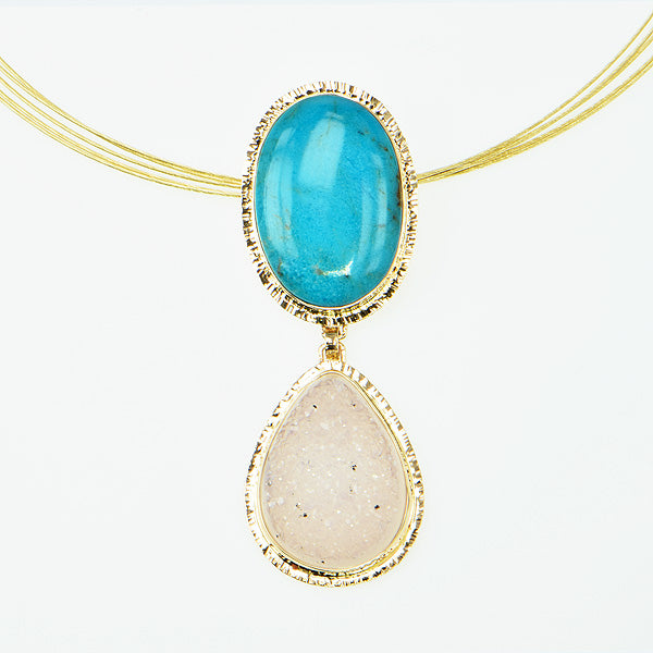 Kingman Turquoise and White Drusy Quartz Cabochon Pendant
