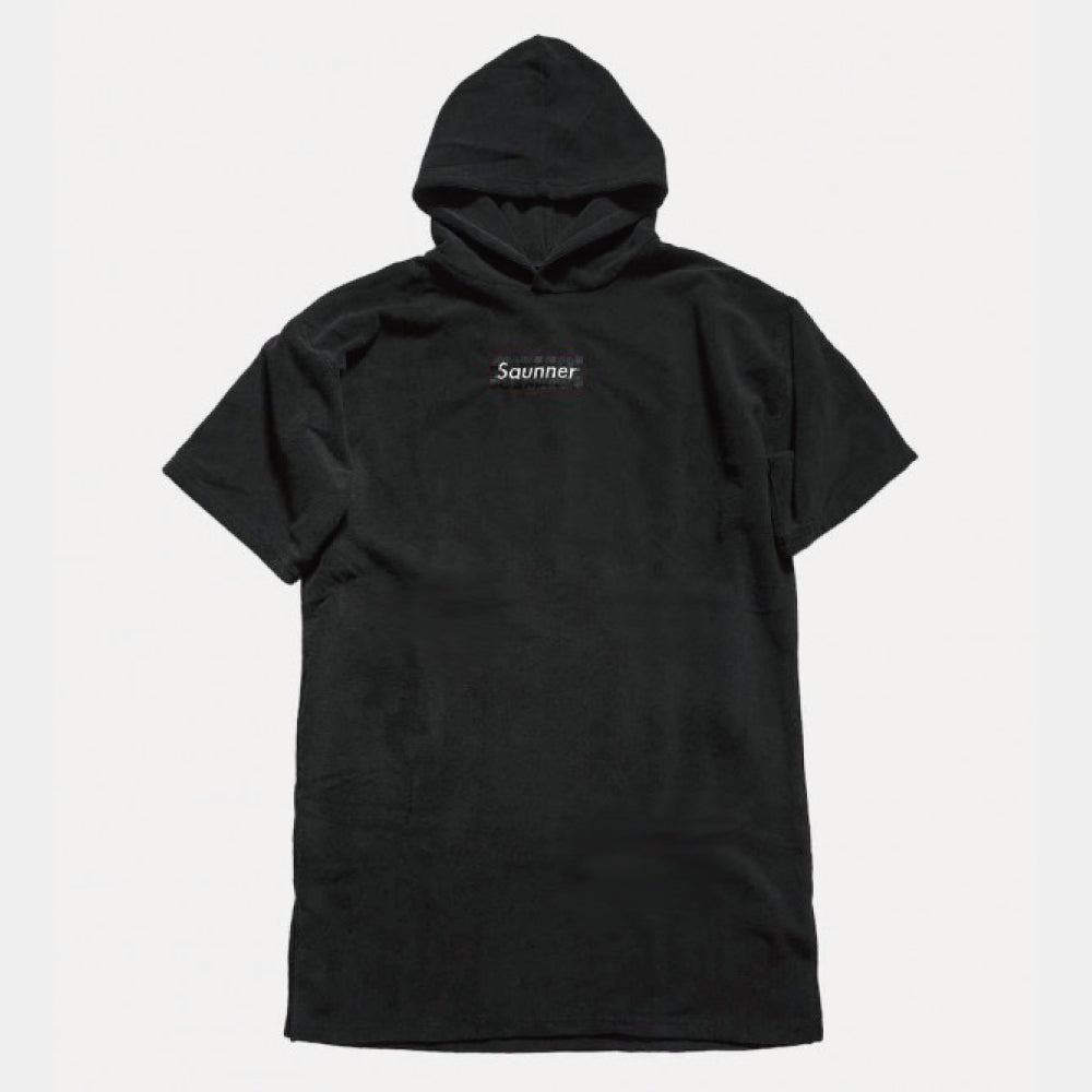 Saunner Box Logo Hooded Poncho - Black/Black