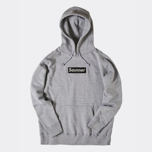Saunner Box Logo Hooded Sweatshirt - Gray/Black Logo