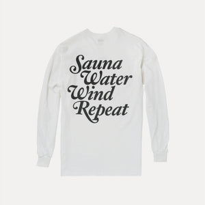 "TTNE Small Box Logo Long Sleeve Tee ""Repeat"" - White"