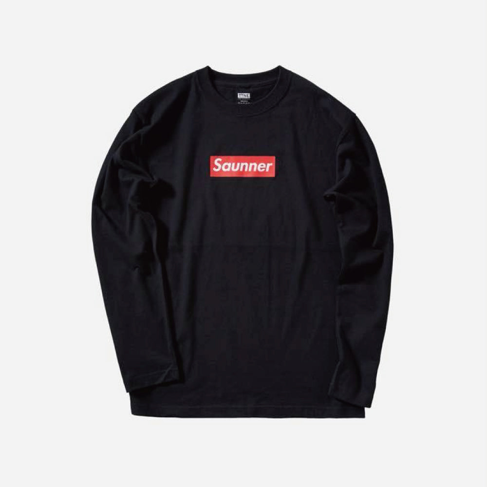 Saunner Box Logo Long Sleeve Tee - Black (Red Box Logo)