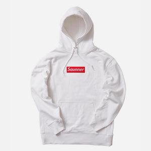 Saunner Box Logo Hooded Sweatshirt - White (Red Box Logo)