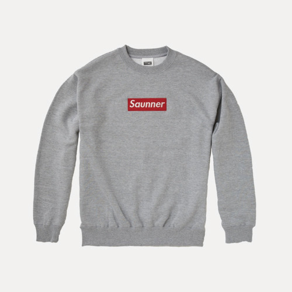 Saunner Box Logo Sweatshirt - Gray/Red Logo