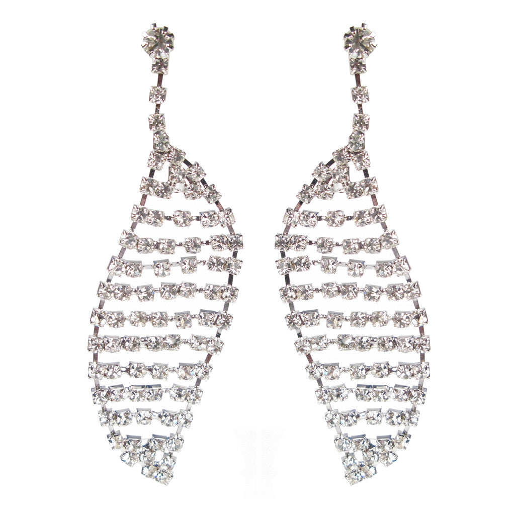 Deco Leaf Czech Crystal Earrings