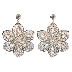 One-Of-A-Kind Crystal Museo Flora Filigree Earrings
