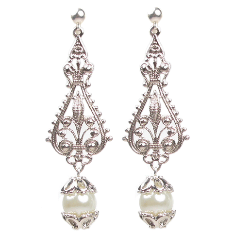 Ornate Filigree Pearl Drop Earrings