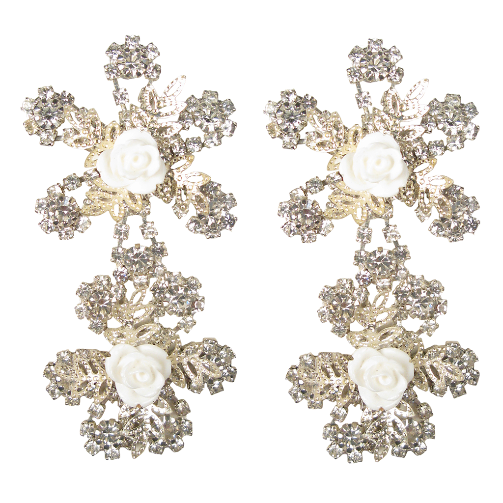 'It's My Dream' White Rose Earrings