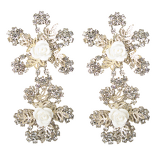 Load image into Gallery viewer, 'It's My Dream' White Rose Earrings