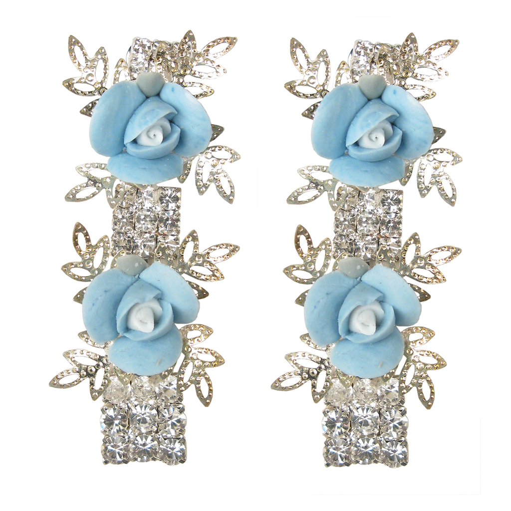 It's My Fairytale Blue Rose Earrings