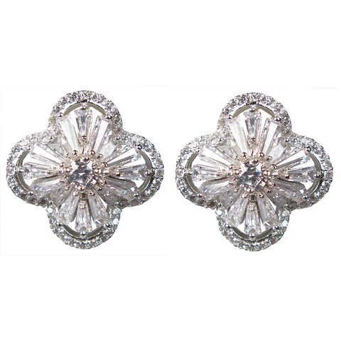 Silver Baguette Four-Petal Flower Diamontage™ 8.2 Carat Earrings