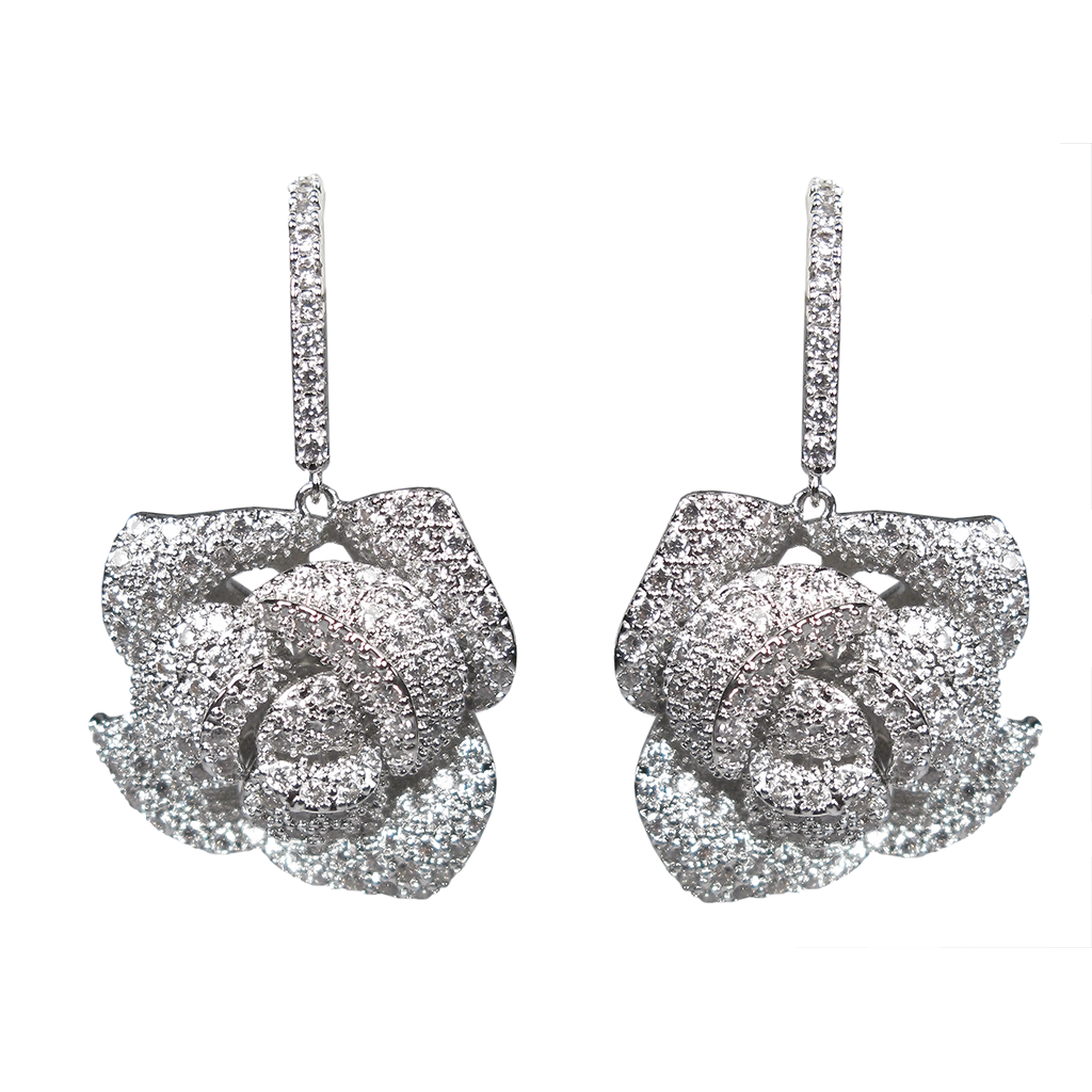 Dangling Silver Rose Diamontage™ 4.2 Carat Earrings