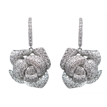 Load image into Gallery viewer, Dangling Silver Rose Diamontage™ 4.2 Carat Earrings
