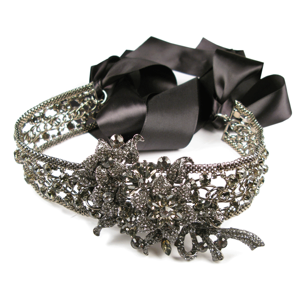 One-Of-A-Kind Noir Black Diamond Encrusted Headpiece