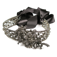 Load image into Gallery viewer, Noir Black Diamond Encrusted Sash