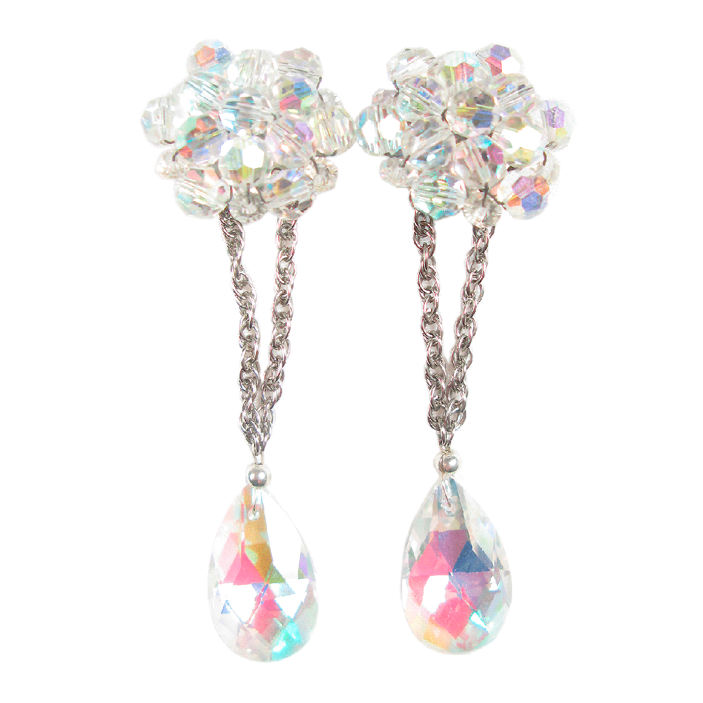One-Of-A-Kind Convertible Aurora Borealis Cluster Drop Earrings