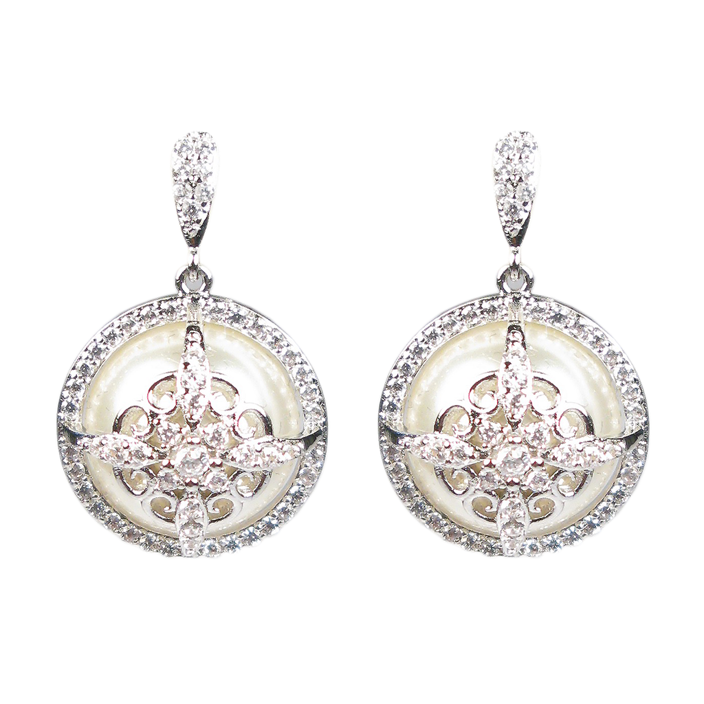 Faceted Pearl Royalty Diamontage™ 1.4 Carat Earrings