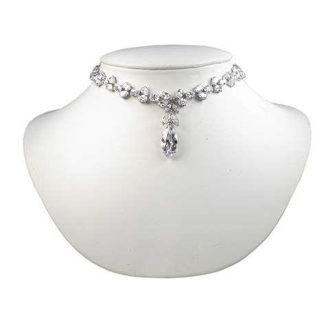 Shimmering Floral Trio Marquise Drop Heirloom Choker