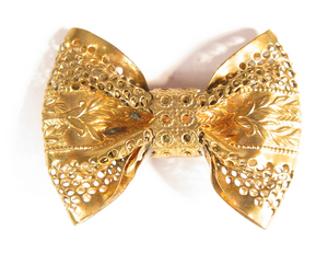 Golden Bow Tie Boutonniére / Lapel Pin