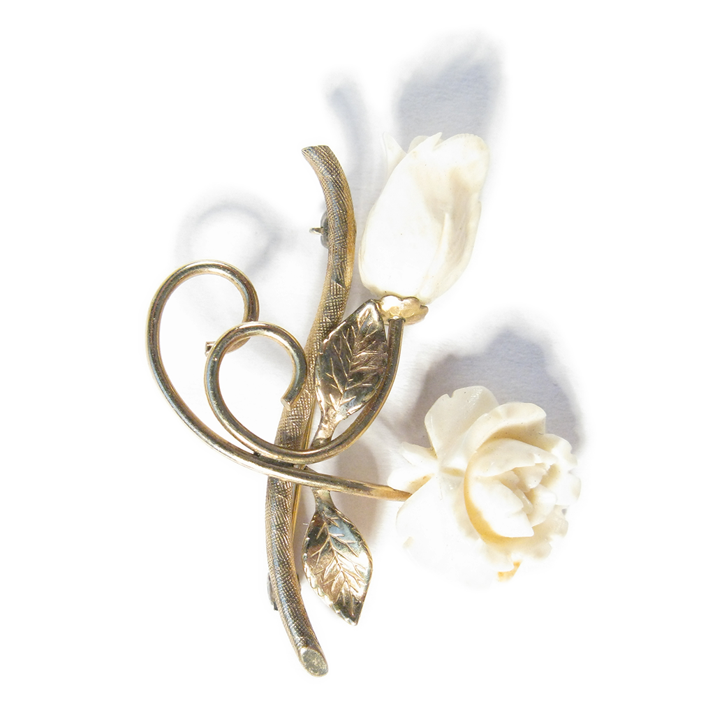 Gilded White Rose Boutonniére / Lapel Pin