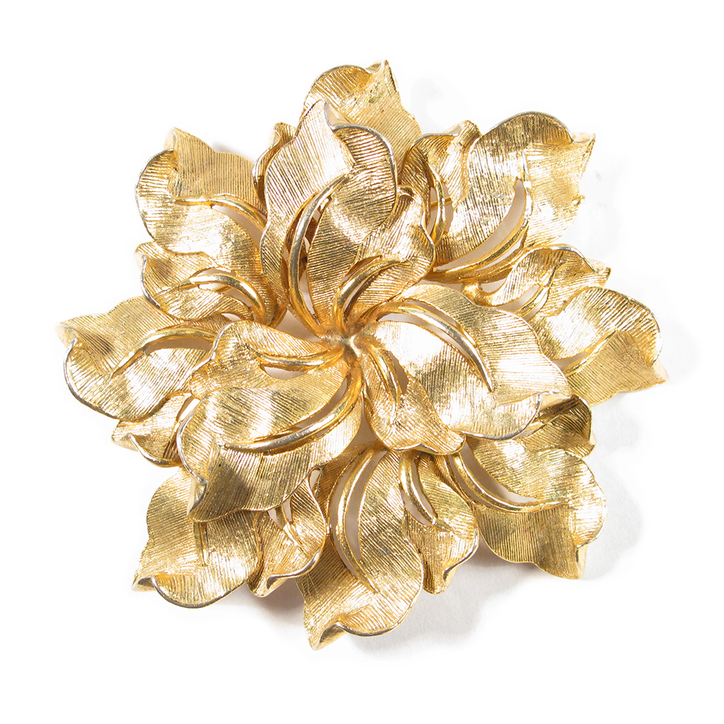 Golden Dancing Dahlia Boutonniére / Lapel Pin