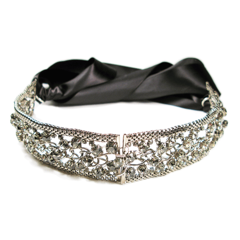 One-Of-A-Kind Noir Black Diamond Lattice Heirloom Headpiece