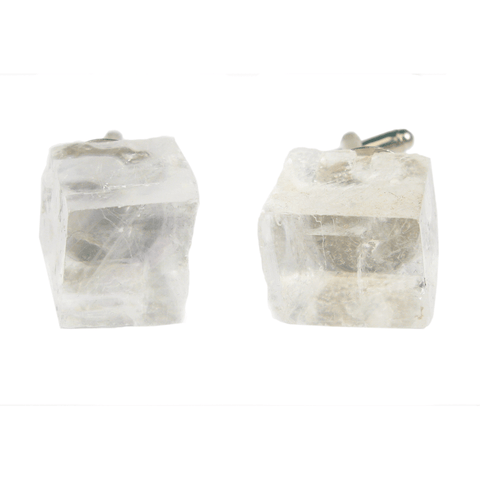 One-Of-A-Kind Raw-Cut Cubed Tibetan Crystal Quartz Cufflinks