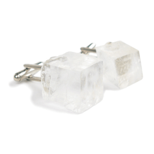 Load image into Gallery viewer, One-Of-A-Kind Raw-Cut Cubed Tibetan Crystal Quartz Cufflinks