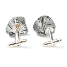 Load image into Gallery viewer, One-Of-A-Kind Tumbled Tourmalinated Crystal Quartz Cufflinks