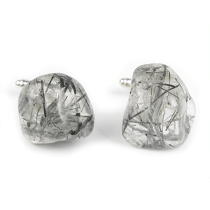 One-Of-A-Kind Tumbled Tourmalinated Crystal Quartz Cufflinks