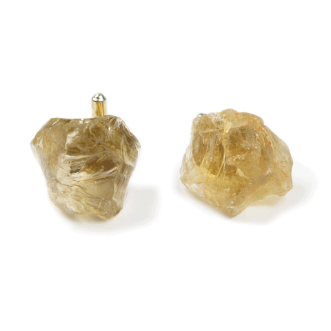 One-Of-A-Kind Raw-Cut Citrine Cufflinks
