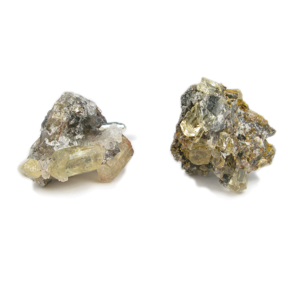 One-Of-A-Kind Canary Yellow Apatite Geode Cufflinks