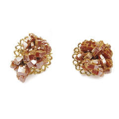 One-Of-A-Kind Raw-Cut Vanadinite Geode Cufflinks