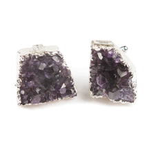 Load image into Gallery viewer, One-Of-A-Kind Brazilian Amethyst Geode Cufflinks