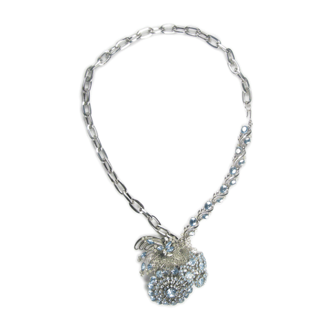 One-Of-A-Kind Vintage Couture Periwinkle Cluster Drop Necklace