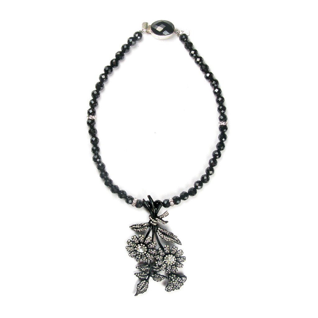 One-Of-A-Kind Estate Noir Floral Pendant Necklace