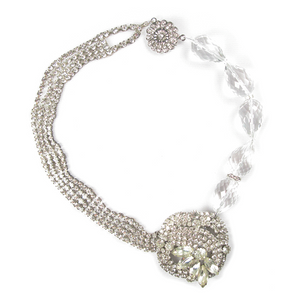One-Of-A-Kind Vintage Couture Asymmetrical Crystal Quartz Cluster Necklace