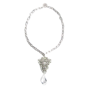 One-Of-A-Kind Estate Clear Triad Drop Necklace