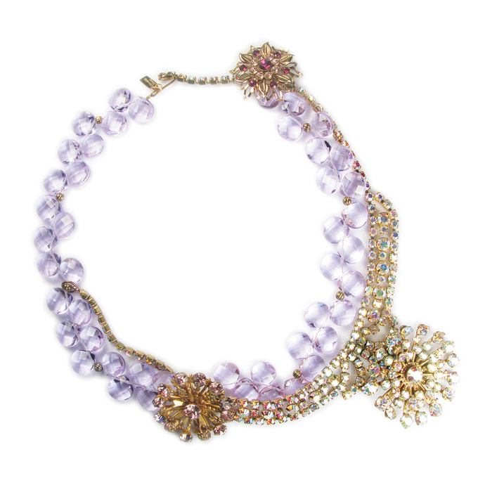 One-Of-A-Kind Estate Violet Floral Cluster Necklace