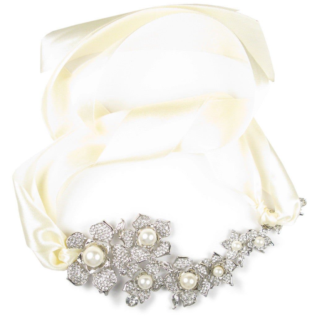 One-Of-A-Kind Pearl Orchid Cascade Heirloom Headpiece & Necklace