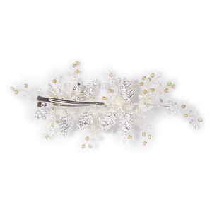 Silver Floral Spray Head Comb