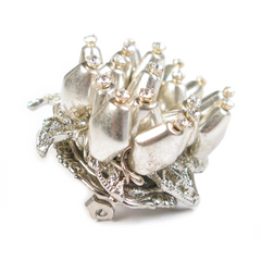One-of-a-Kind Silver Sea Swarovski Anemone Boutineer