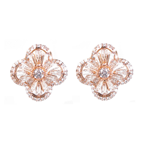 Rose Gold Baguette Four-Petal Flower Diamontage™ 8.2 Carat Earrings