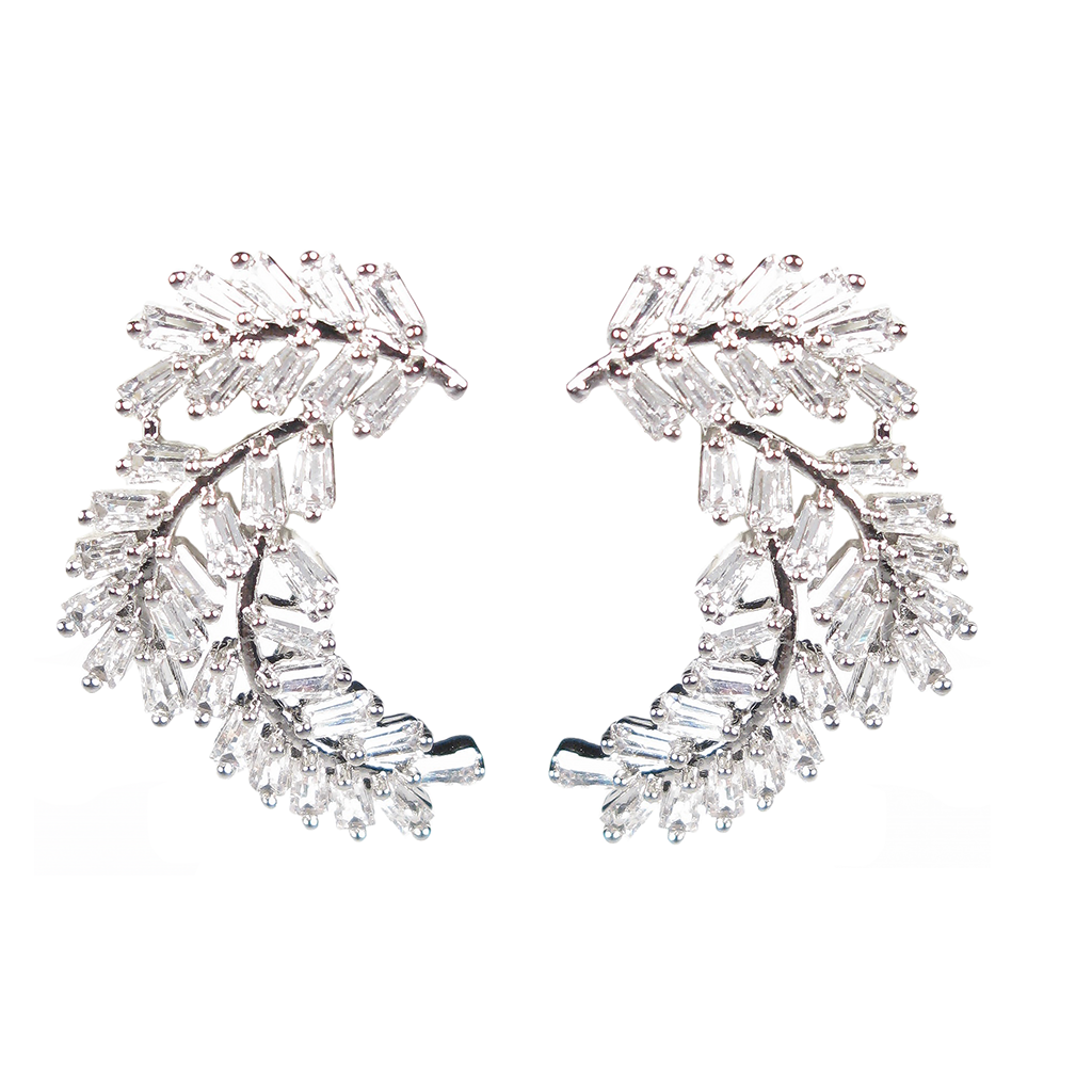 Laurel Leaf Baguette Diamontage™ 6.0 Carat Ear Cuffs