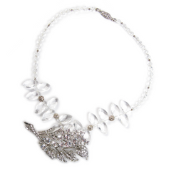 One-Of-A-Kind Crystal Leaf Pendant Necklace