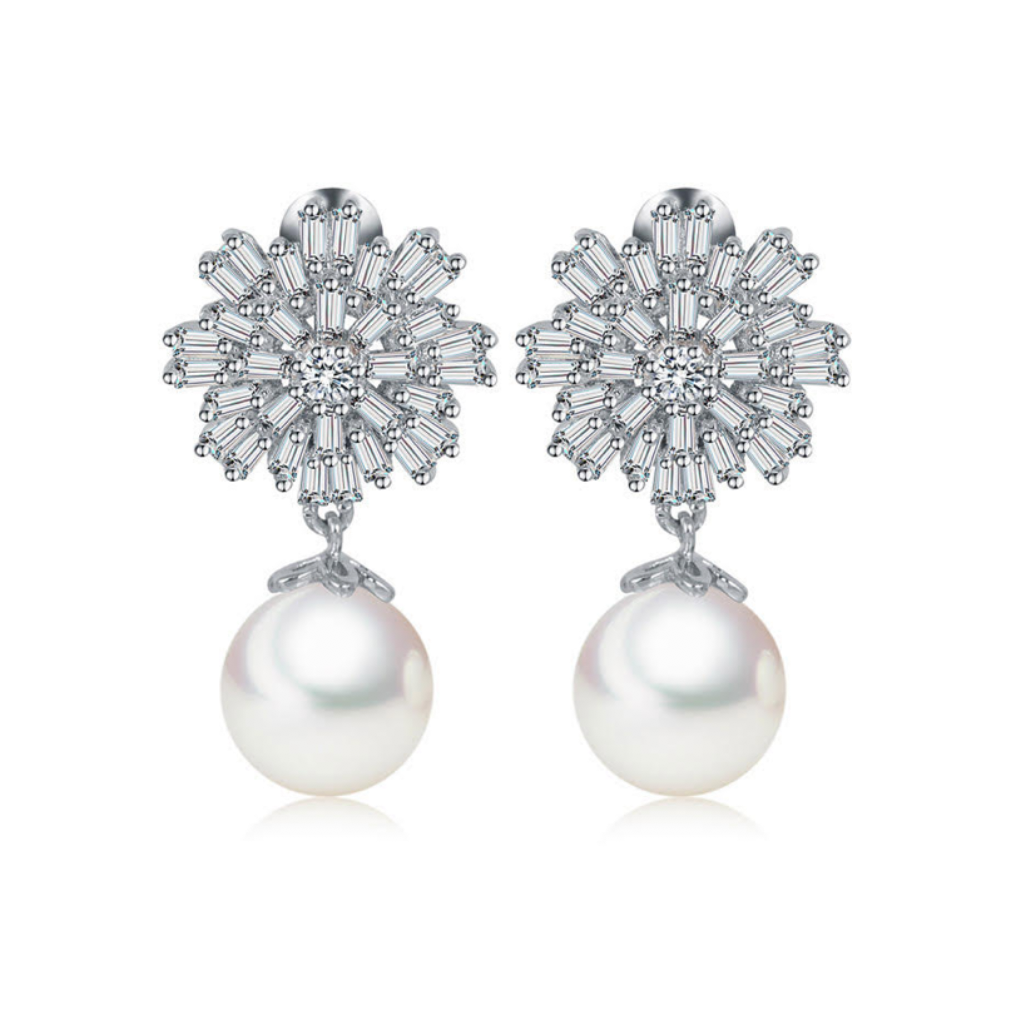 Pearl Starburst Drop Diamontage™ 5.2 Carat Earrings
