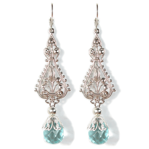 Ornate Soft Cerulean Earrings