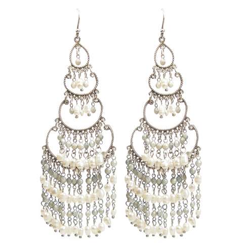 Hand-made Baroque Pearl Chandelier Earrings