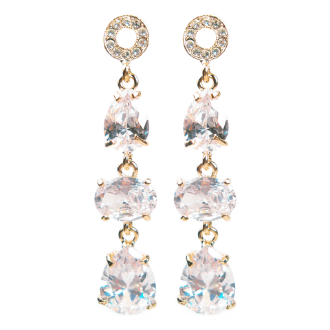 Golden Teardrop Trio 17.6 Carat Diamontage™ Earrings