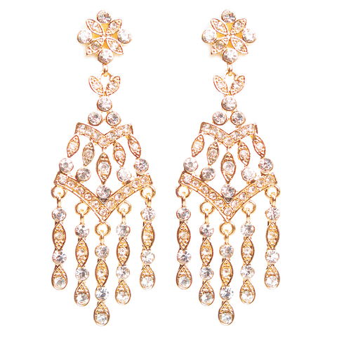 Golden Dangling Crystal Waterfall Earrings