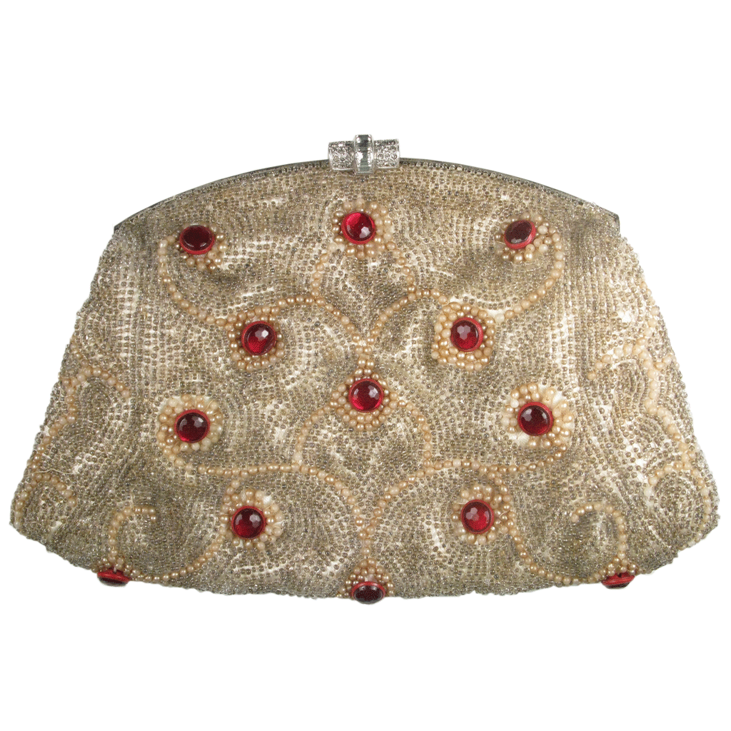 Original Vintage 1930's Beaded Ruby Pearl Dream Clutch